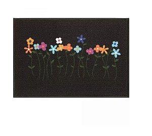 Tapete Capacho Flores 65 x 45 Cm - Decoração