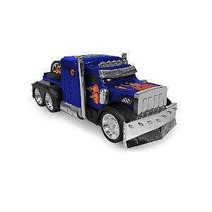 Monster Machini Caminhão Azul Fricção  c/ Luz e Som