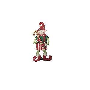 Enfeite de Natal Duende com Caramelo em Resina