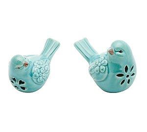 Conjunto Pássaros Decorativos Cerâmica Azul