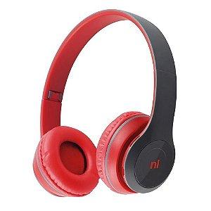 Fone Headset Essence Vermelho Bluetooth Dobrável Newlink