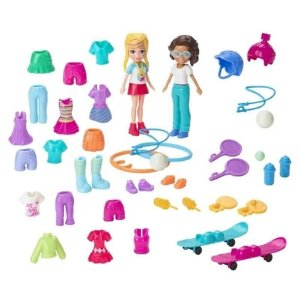 Boneca Polly Pocket e amiga Kit moda esportiva