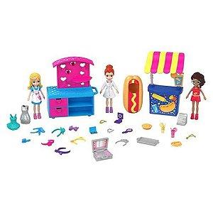 Boneca Polly Pocket e Amigas Carrinhos de moda e comida