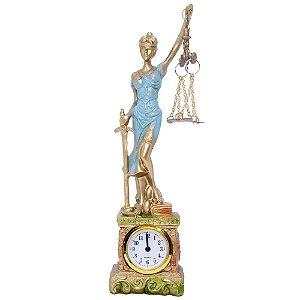 Themis Deusa da Justiça em Resina 28 cm Relógio