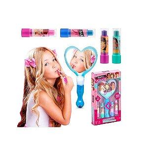 Kit Maquiagem Infantil Batom e Espelho Mágico Polibrinq