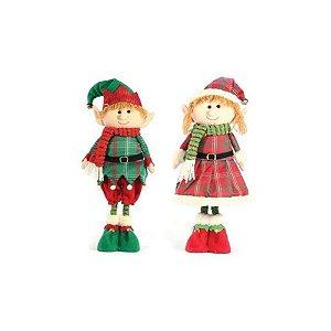 Casal Duende De Natal Em Pé Funny 46cm Yangzi