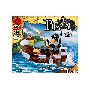 Kit com Blocos para Montar Piratas 300 Peças