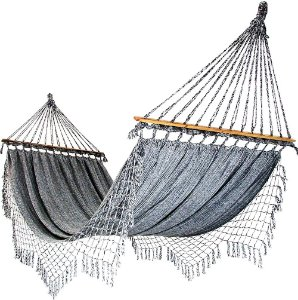 Rede De Dormir e Descanso Para Casal Cinza Mesclado 100% Algodão Com Madeira
