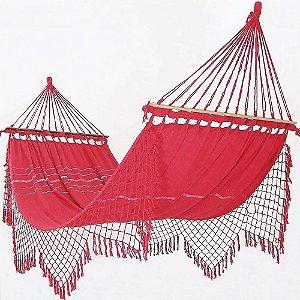 Rede De Dormir e Descanso Para Casal Vermelha 100% Algodão Com Madeira