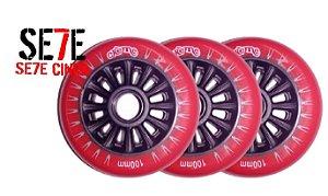 Rodas P/ Patins Roller Inline 100mm/82a Vermelho kit 03 Unidades