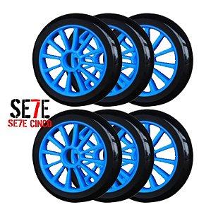 Rodas P/ Patins Roller Inline 125mm/82a Azul kit 06 Unidades