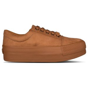 Tênis Capricho Shoes Break Plataform Suede Caramelo