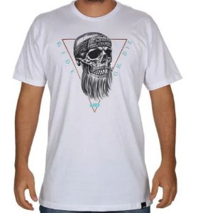 CAMISETA LONG TEE CAVEIRA HD  branca