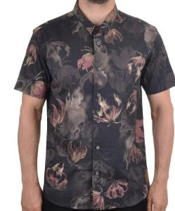 Camisa Mcd Flower Flame Masculina - Preto