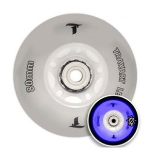 Jogo c/ 4 Rodas Traxart Led Azul 80mm Inline Roller Patins
