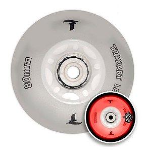 Jogo c/ 4 Rodas Traxart Led Vermalha 80mm Inline Roller Patins