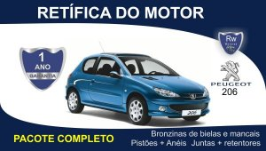 Retífica de motor Peugeot 206 pacote completo