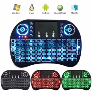 Mini Teclado Wireless Touchpad Tv Box Mx Pc Android Tv Smart com LEDs