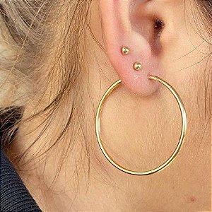 Par (2) de Brincos Feminino Argola Médio 5cm Dourado