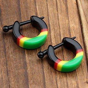 Brinco Argola Jamaica Tribal Reggae Bob Marley Masculino Feminino