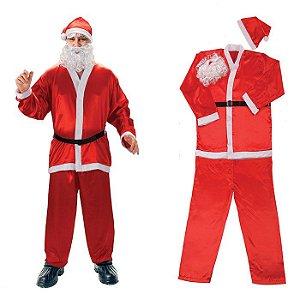 Roupa de Papai Noel Fantasia Feltro Adulto Completa 5 Peças  1 Calça, 1 Blusa, 1 Gorro, 1 Cinto e 1 Barba