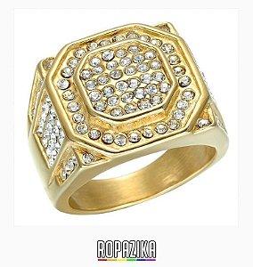 Anel Dourado Com Diamantes #1