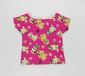Camiseta cachorrinhos (pink) - Turma do barulho