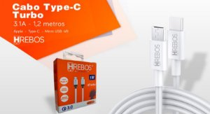 Cabo Turbo PD 18W TYPE C COM IPHONE HREBOS HS130