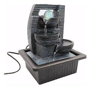 Fonte Decorativa Queda De Agua Grande com 1 Led Colorido e Bola cristal