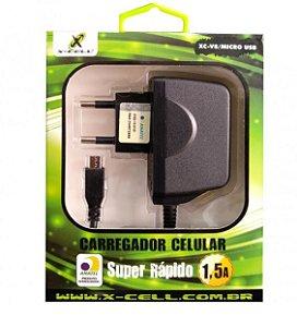 Carregador Rápido V8 1.5A XCELL XCV8/MICRO Anatel
