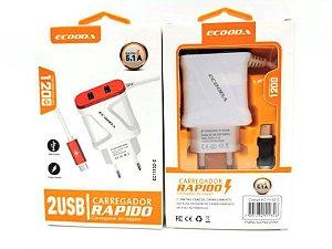 Carregador Ecooda 5.1A com 2 USB e cabo TYPE C EC11132C
