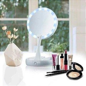 Espelho De Luz Led Dobrável Aumenta 10x P/maquiagem Portátil