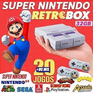Video game retro 20 mil jogos 2 controles super nintendo - Basta plugar e jogar ! Roda até PS1