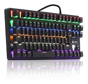 Teclado gamer Mecânico Knup KP-2052 português brasil cor preto com luz rainbow chroma