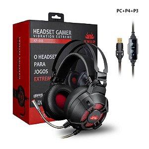 Fone Gamer Led USB Super Bass 7.1 Sound com Vibração Extreme para PC PS3 PS4 Knup KP446
