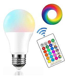 Lampada Led Bulbo Colorida 7w Bivlt Controle Remoto