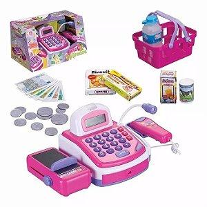 Máquina Caixa Registradora Infantil Som Luz 29 Acessórios