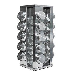 Porta Tempero Giratorio Em Inox 20 Potes Vidro E Tampa Inox