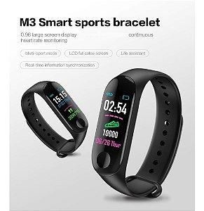 Relogio Inteligente Smartband M3 Monitor Cardíaco Preto