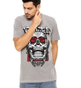 Camiseta Von Dutch Rose and Knife Cinza TAM P