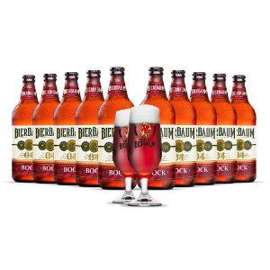 Kit com 10 Cervejas Bock Bierbaum + Duas Taças
