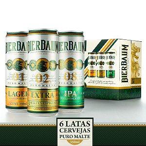 Kit 6 Latas de Cervejas Puro Malte Bierbaum | Lata 350ml