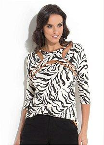 Blusa Zebra com Sobreposição Frontal