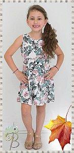 Vestido Acinturado em Malha estampada Floral