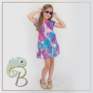 Vestido em Malha Modelo em A com babado e estampa folhas coloridas