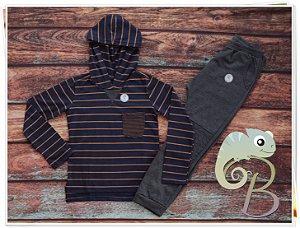 Conjunto Masculino Calça Moletom Mescla Escura + Camisa listrada com touca e Bolsinho