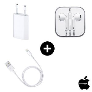 Fone Earpods + Cabo USB + Fonte 5W Apple