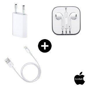 Fone Earpods + Cabo USB + Fonte 5W Apple