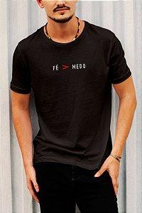 Camiseta T-Shirt Fé Maior Que Medo