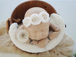 Headband Léia Branco Off (tira de amarrar)